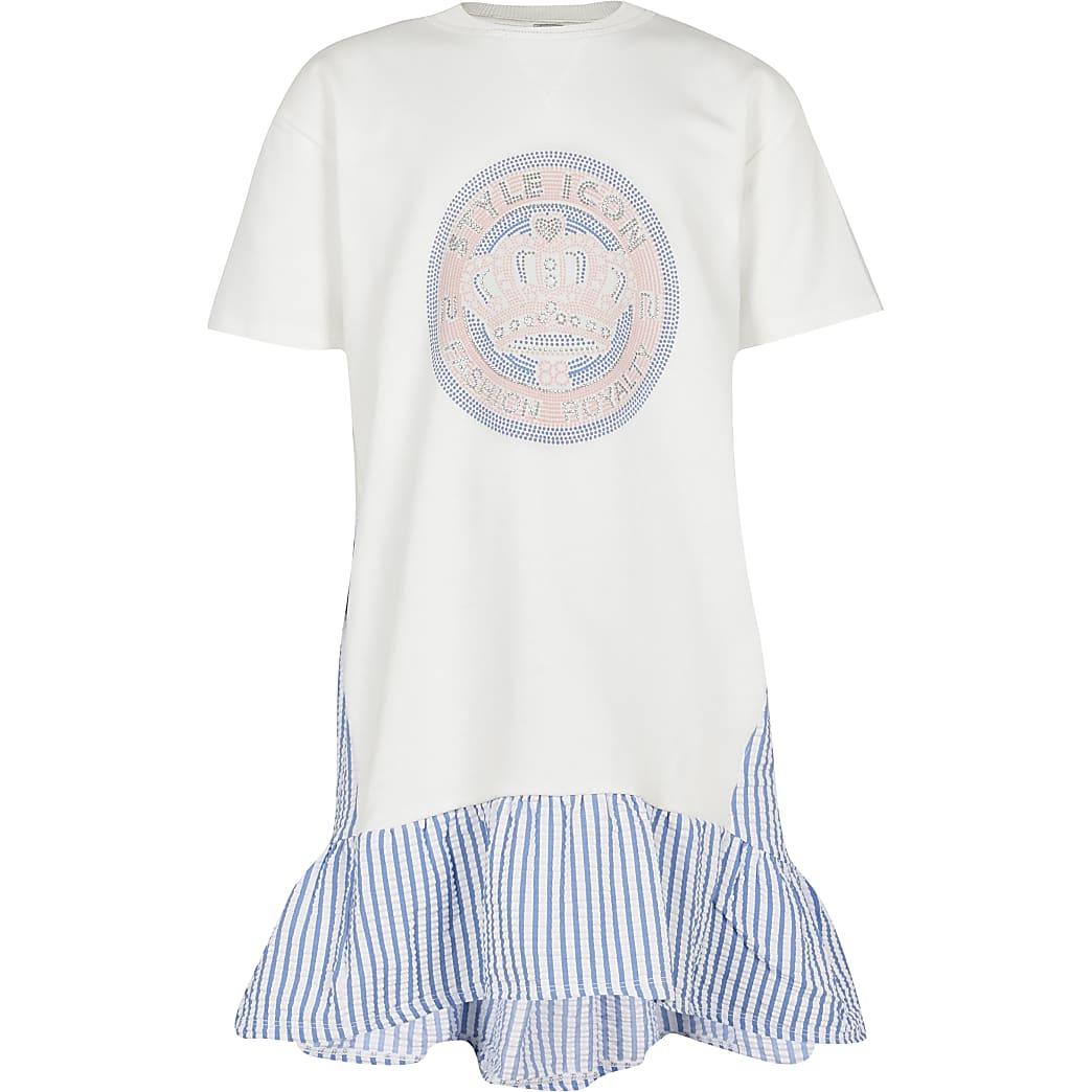 Age 13+ girls cream trapeze t-shirt dress