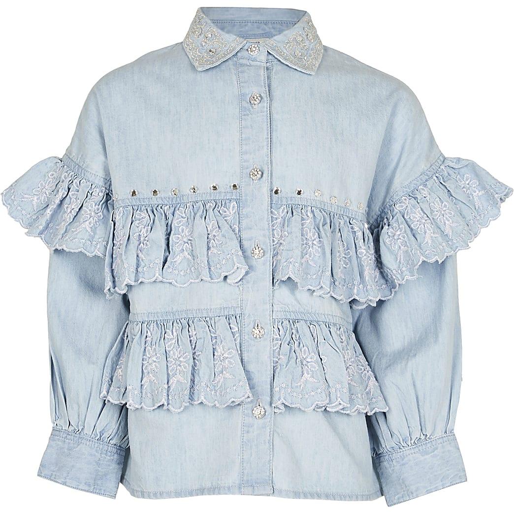 Age 13+ girls denim frill shirt