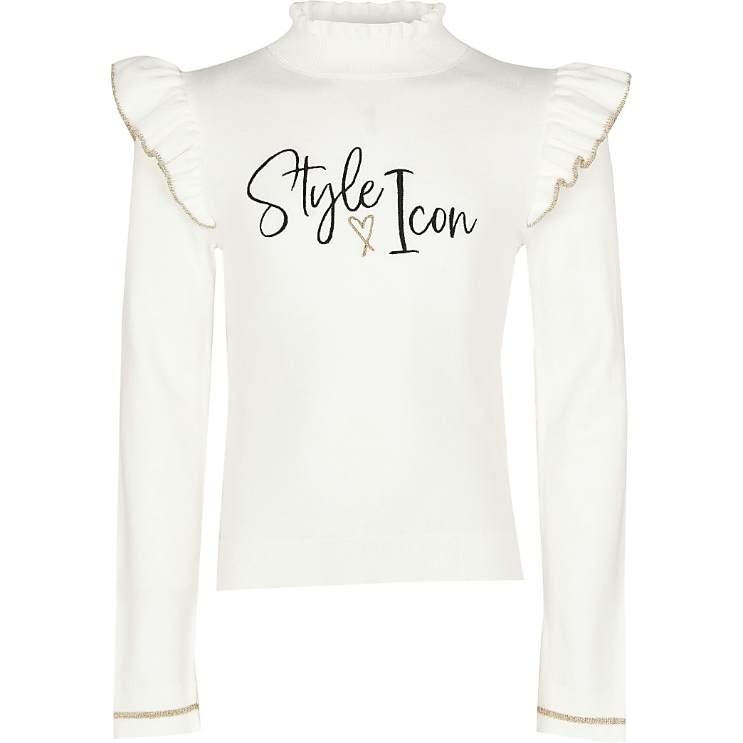 Age 13+ girls ecru 'style icon' knitted top