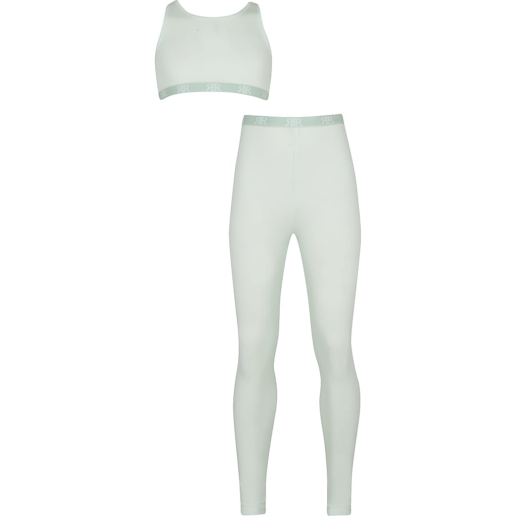 Age 13+ girls green crop & legging outfit