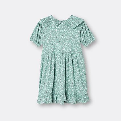 Age 13+ girls green floral collar smock dress