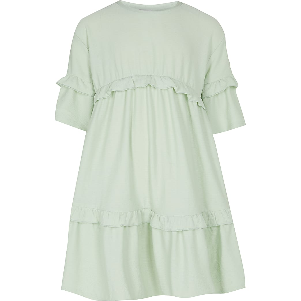 Age 13+ girls green frill hem t-shirt dress