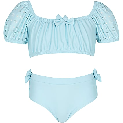 Age 13+ girls green puff sleeve bikini set