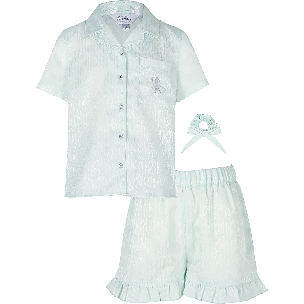 Age 13+ girls green RI monogram satin pyjamas