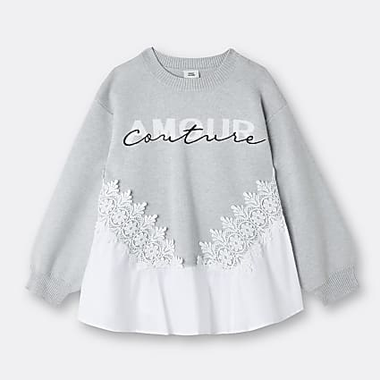 Age 13+ girls grey 'Amour Couture' jumper
