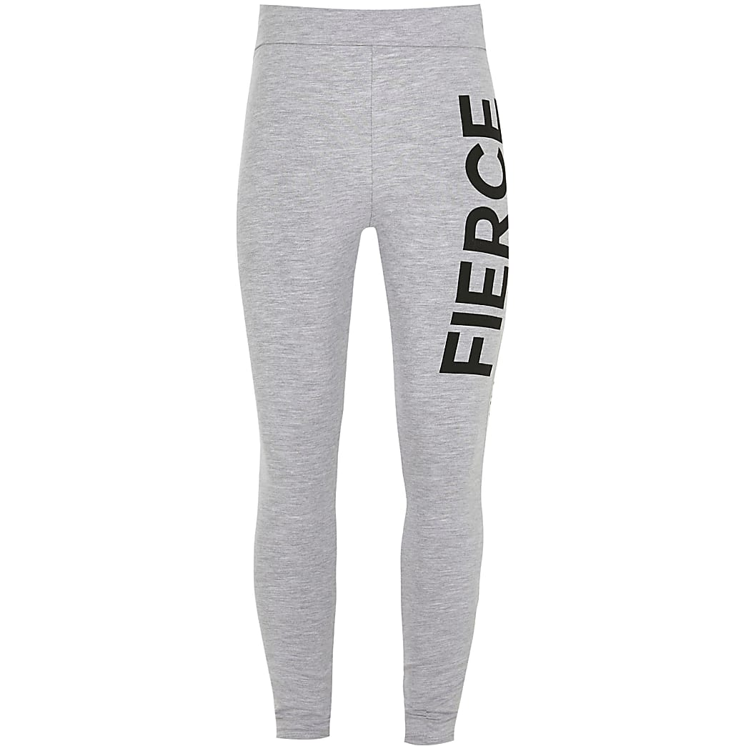 Age 13+ girls grey 'Fierce' foldover leggings