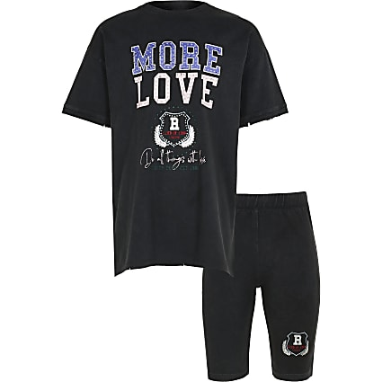 Age 13+ girls grey 'More Love' t-shirt outfit