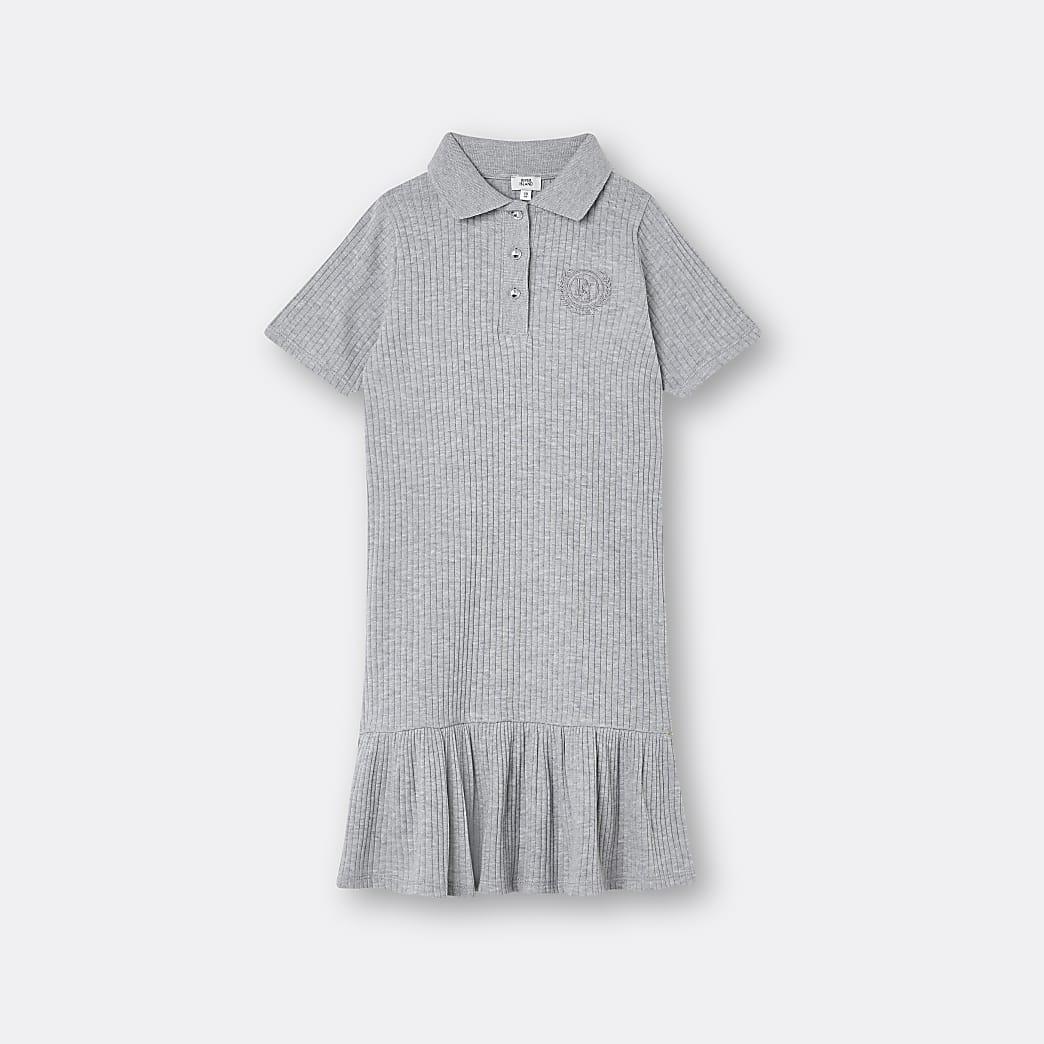 Age 13+ girls grey polo peplum hem dress