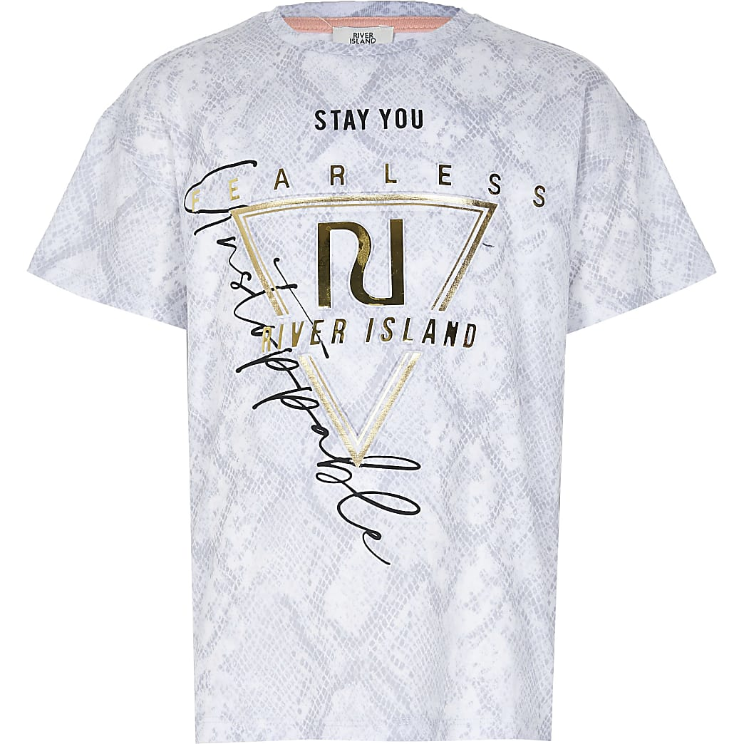 Age 13+ girls grey RI Active print t-shirt