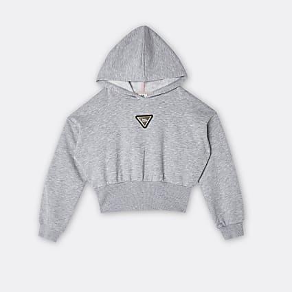Age 13+ girls grey RI badge hoodie