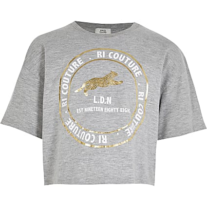 Age 13+ girls grey 'RI couture' print t-shirt