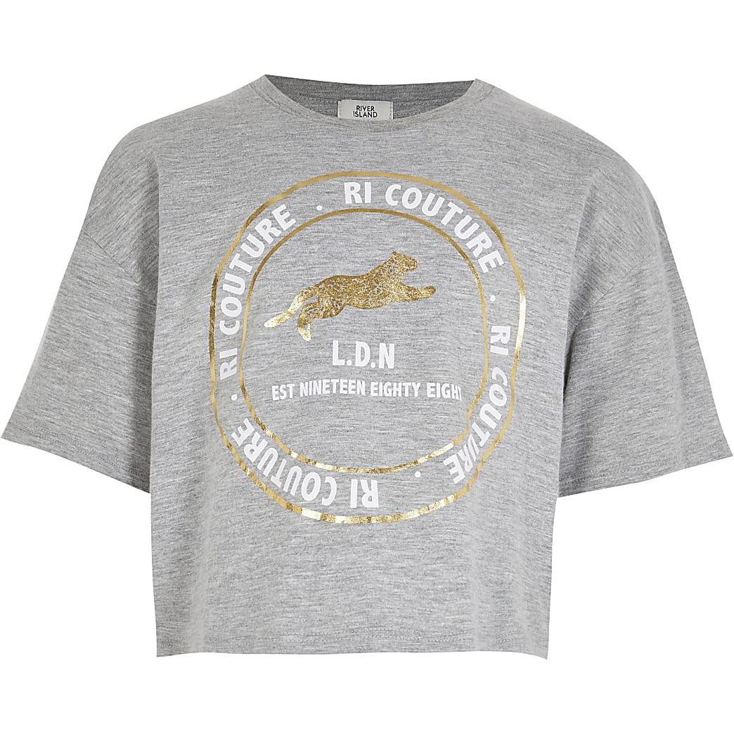 Age 13+ girls grey 'RI couture' print t-shirt