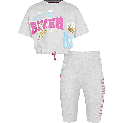 Age 13+ girls grey RI t-shirt & short outfit
