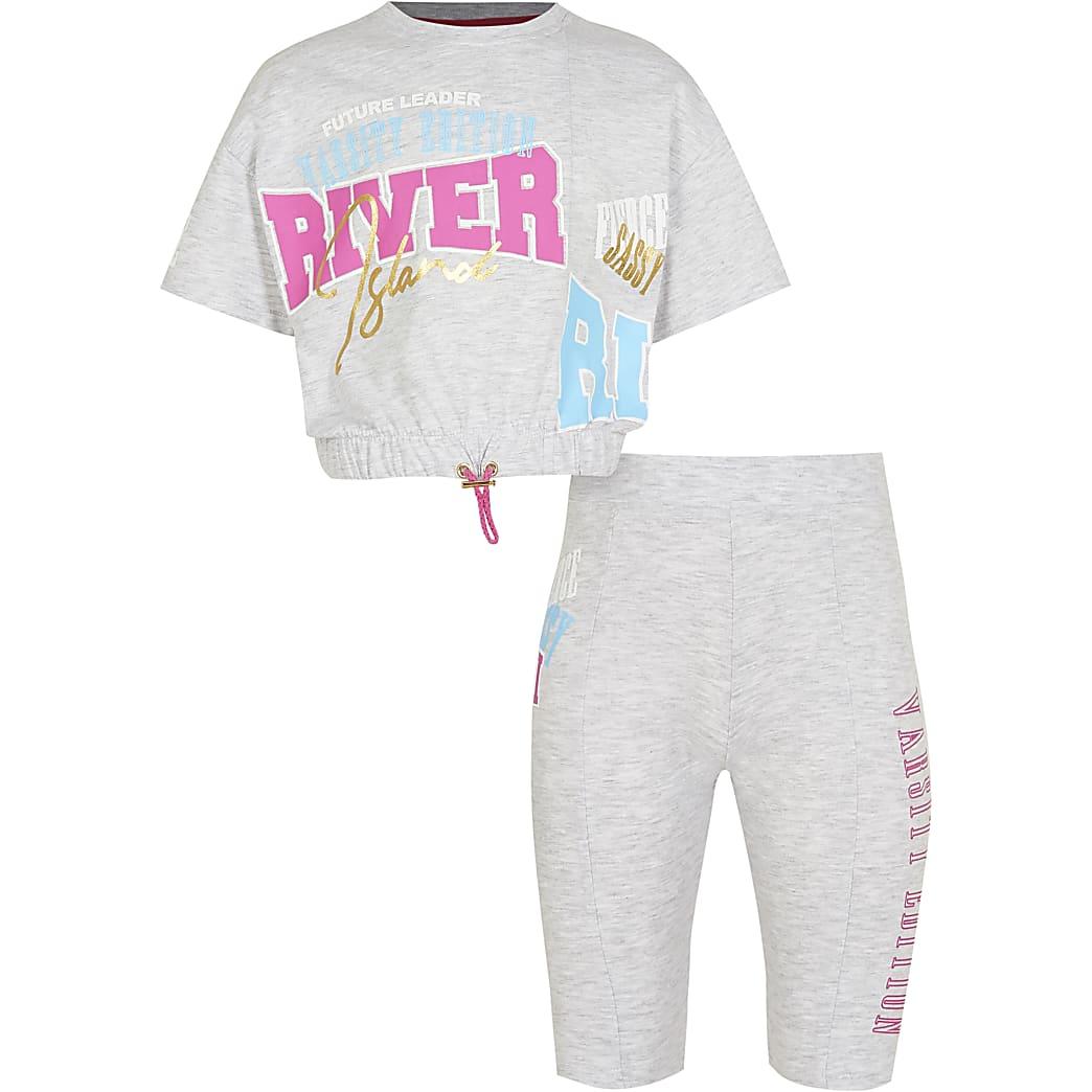 Age 13+ girls grey RI t-shirt & short outfit