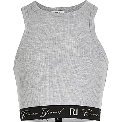 Age 13+ girls grey ribbed crop top