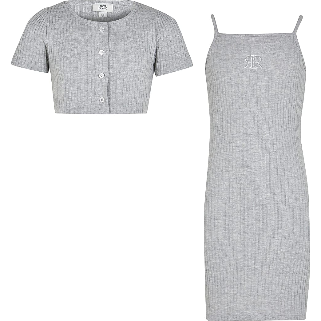 Age 13+ girls grey ribbed dress and cardigan