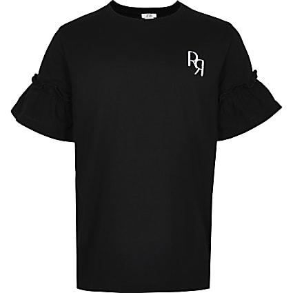 Age 13+ girls grey RR ruffle sleeve t-shirt