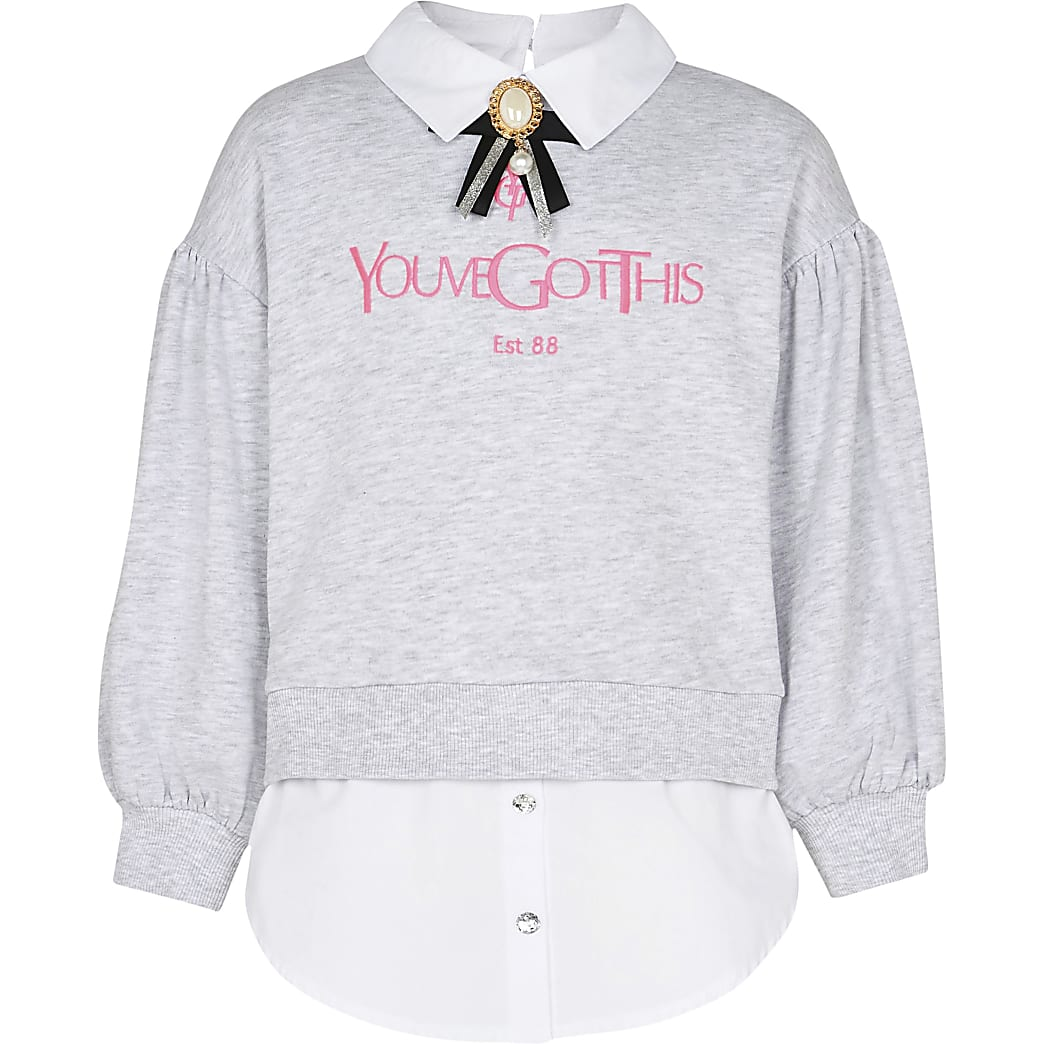 Age 13+ girls grey shirt hem sweatshirt