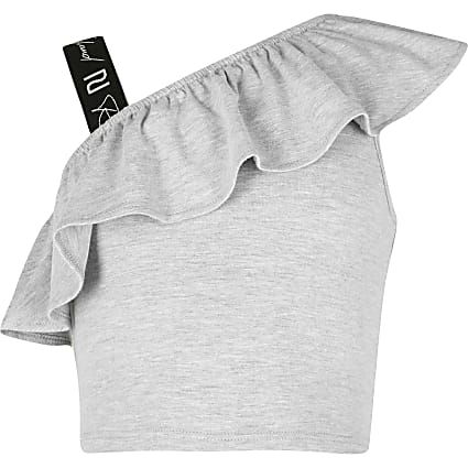 Age 13+ girls grey shoulder crop top