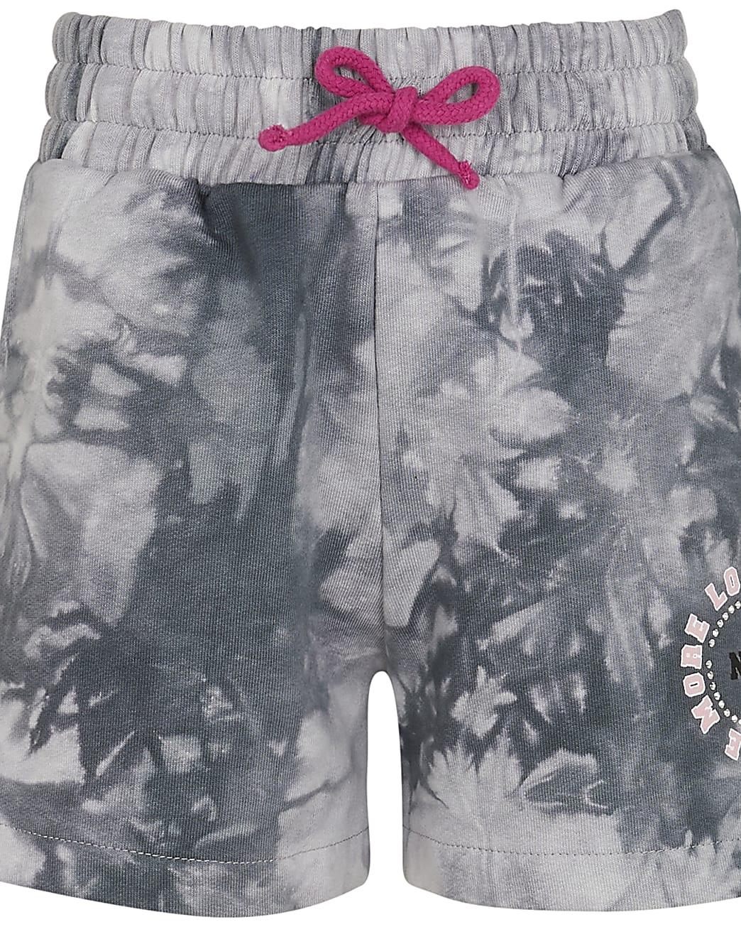 Age 13+ girls grey tie dye boyfriend shorts