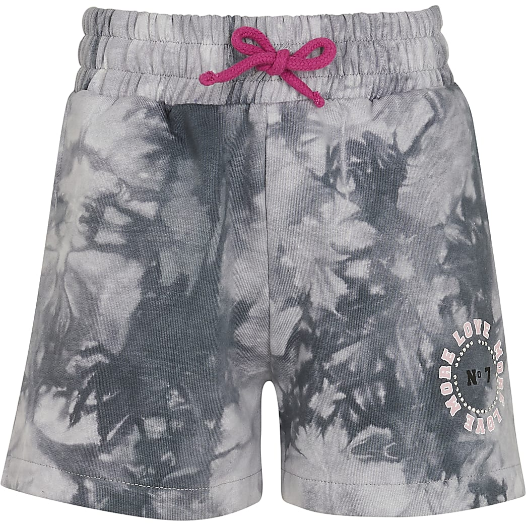 Age 13+ girls grey tie dye boyfriend shorts