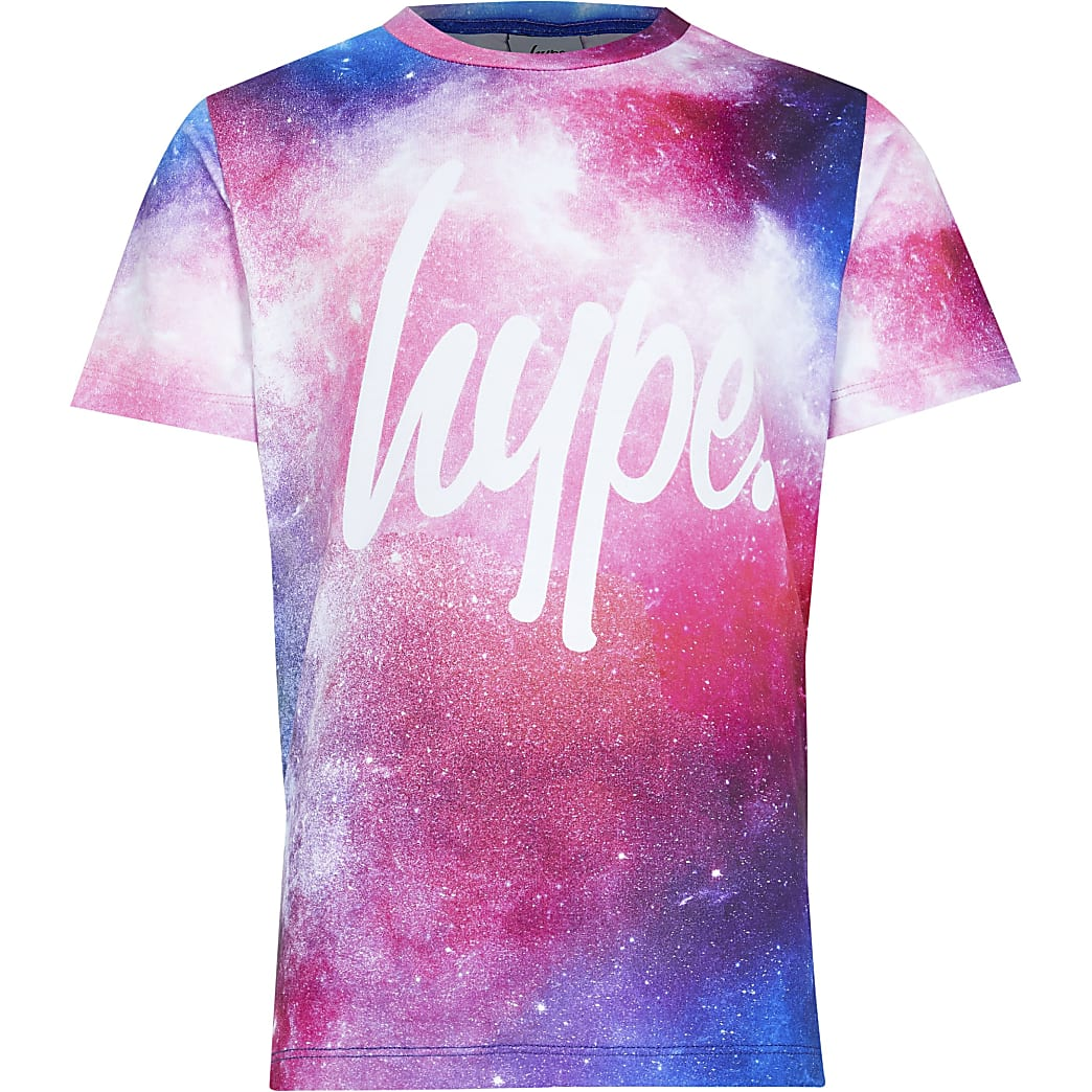 Age 13+ girls Hype pink galaxy t-shirt