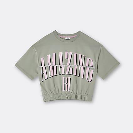 Age 13+ girls khaki 'Amazing' bling t-shirt
