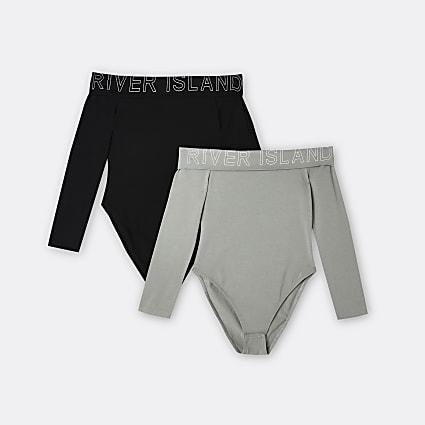 Age 13+ girls khaki bardot bodysuits 2 pack