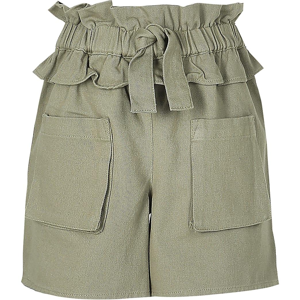 Age 13+ girls khaki frill tie waist shorts