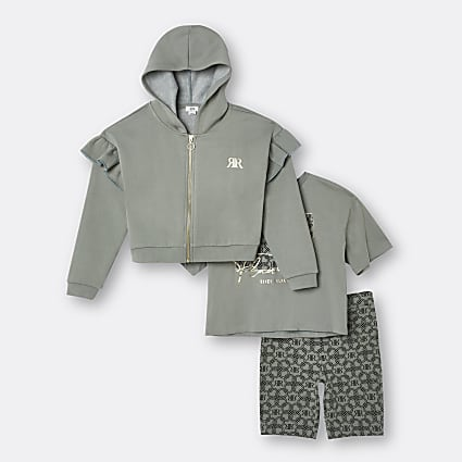 Age 13+ girls khaki hoodie 3 piece outfit