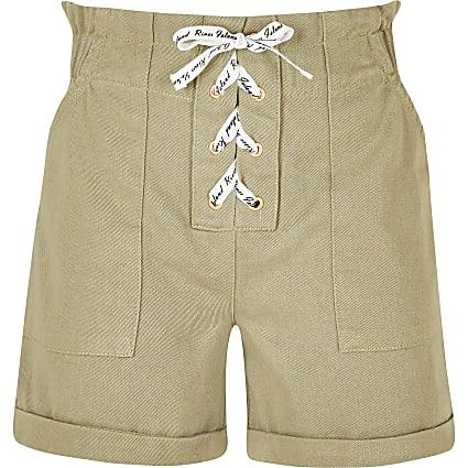 Age 13+ girls khaki lace up paperbag shorts