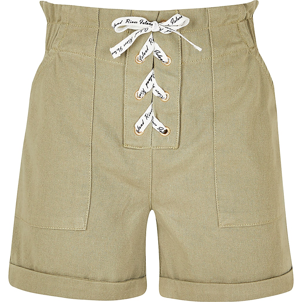 Age 13+ girls khaki lace up paperbag shorts