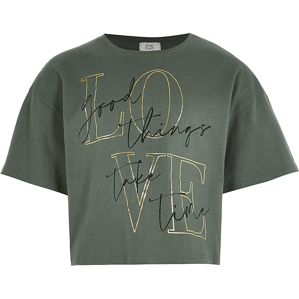 Age 13+ girls khaki 'Love' print t-shirt