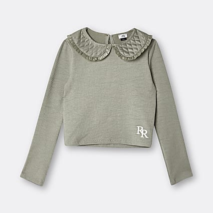 Age 13+ girls khaki quilted collar neck top