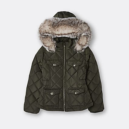 Age 13+ girls khaki quilted hood puffer coat