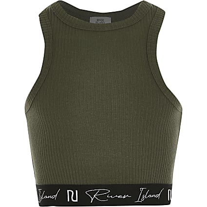 Age 13+ Girls khaki racer ribbed RI crop top