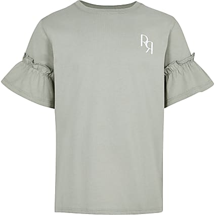 Age 13+ girls khaki RR Ruffle Sleeve t-shirt