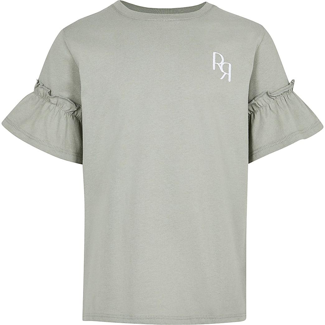 Age 13+ girls khaki RR Ruffle Sleeve t-shirt
