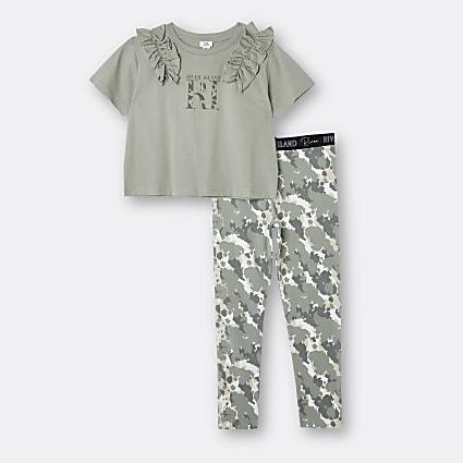 Age 13+ girls khaki t-shirt and camo leggings