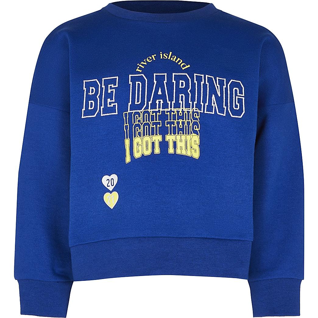 Age 13+ girls navy 'Be daring' sweatshirt