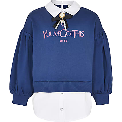 Age 13+ girls navy shirt hem sweatshirt