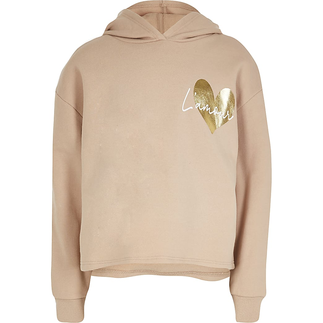 Age 13+ girls nude 'L'Amour' print hoodie