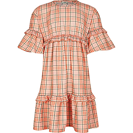 Age 13+ girls orange check t-shirt fill dress