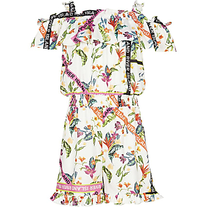 Age 13+ girls orange floral bardot mini dress
