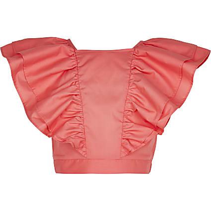 Age 13+ girls orange frill blouse top