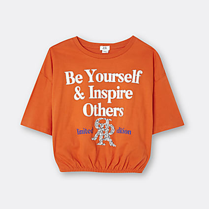 Age 13+ girls orange graphic print t-shirt