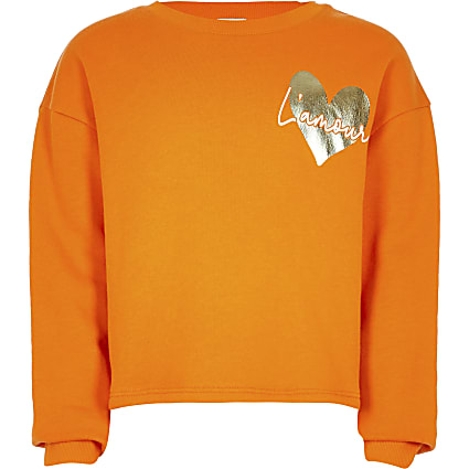 Age 13+ girls orange heart print sweatshirt