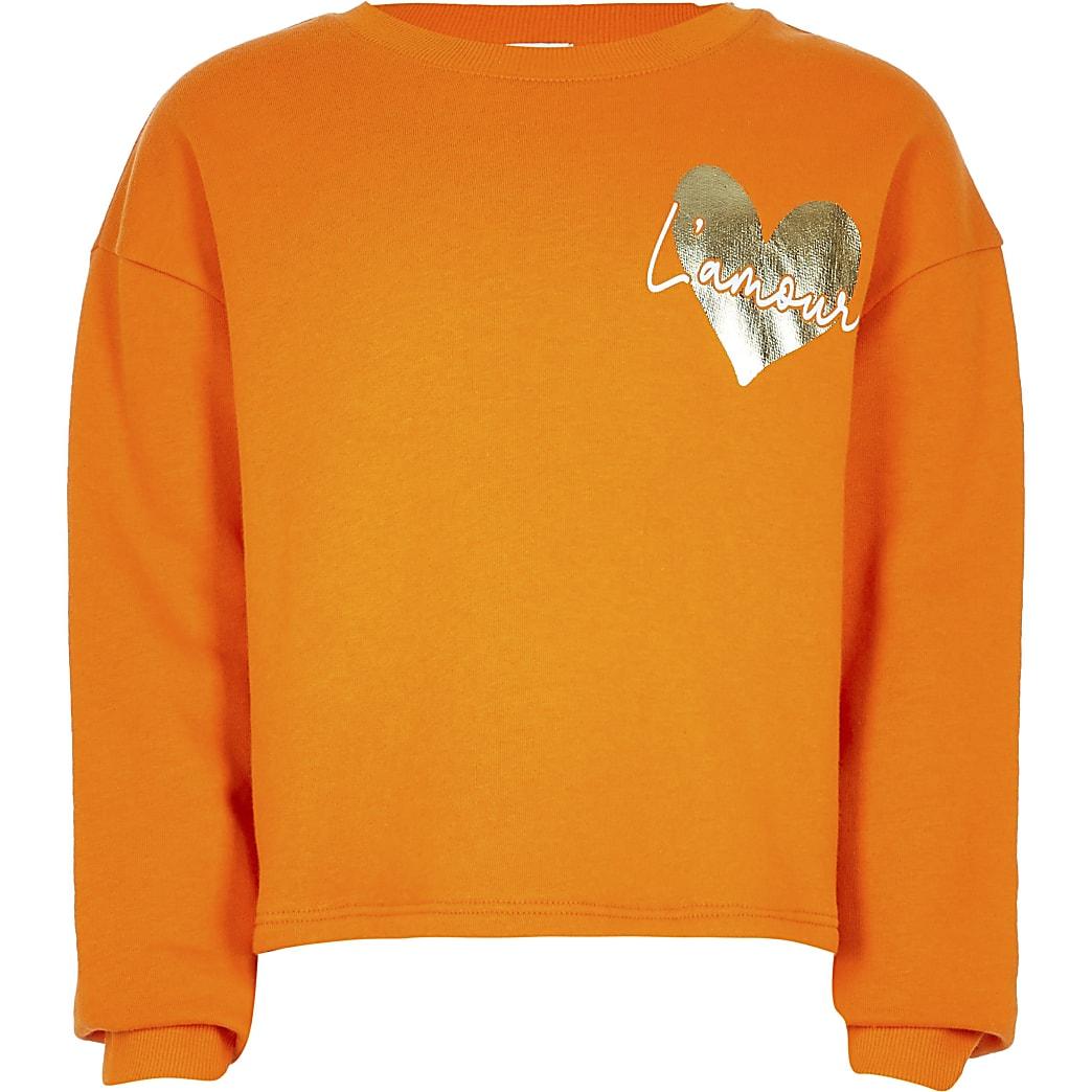 Age 13+ girls orange heart print sweatshirt