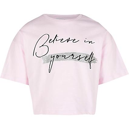Age 13+ girls pink 'Believe' t-shirt