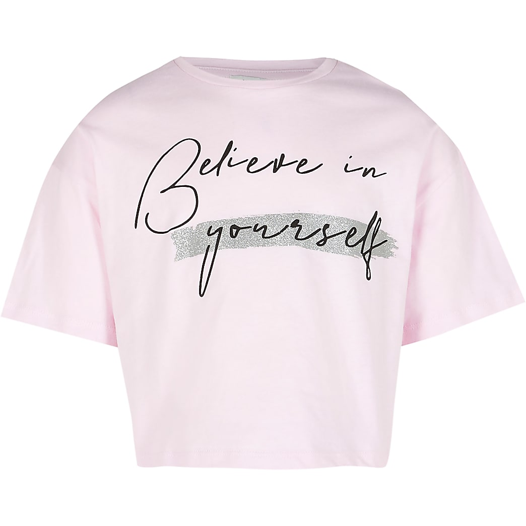Age 13+ girls pink 'Believe' t-shirt